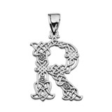 """""""R"""" Initial In Celtic Knot Pattern Sterling Silver Pendant Necklace"""