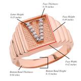 Rose Gold Diamond Initial V Ring