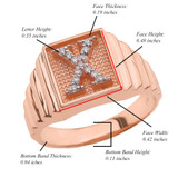 Rose Gold Diamond Initial X Ring