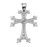 "Eternity Armenian Cross ""Khachkar"" White Gold Pendant Necklace (Medium)"