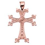 "Eternity Armenian Cross ""Khachkar"" Rose Gold Pendant Necklace (Large)"