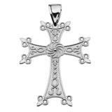 "Eternity Armenian Cross ""Khachkar"" White Gold Pendant Necklace (Large)"