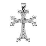 "Eternity Armenian Cross ""Khachkar"" Sterling Silver  Pendant Necklace (Medium)"