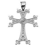"Eternity Armenian Cross ""Khachkar"" Sterling Silver Pendant Necklace (Large)"