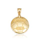 Yellow Gold Soccer Mom Soccer Ball Sports Pendant Necklace
