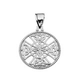 White Gold Trinity Knot Celtic Cross In A Round Rope Frame Pendant Necklace