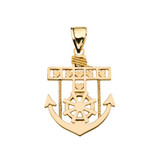 Yellow Gold Mariner Anchor Pendant Necklace
