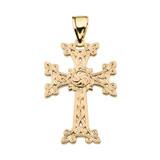 """Eternity """"Khachkar"""" Armenian Cross Yellow Gold Pendant Necklace (Medium)"""