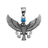 Cubic Zirconia Falcon of Tutankhamun holding the 'Ankh' Cross Sterling Silver Pendant Necklace