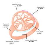 Rose Gold Tree of Life Circular Filigree Women's Ring