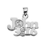 White Gold John 3:16 Cubic Zirconia Pendant Necklace