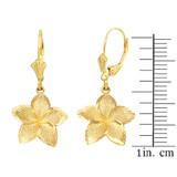 Yellow Gold Five Petal Textured Plumeria Flower Earring Set  (Medium)