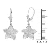 Sterling Silver Five Petal Textured Plumeria Flower Earring Set  (Medium)