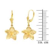 Yellow Gold Five Petal Textured Plumeria Flower Earring Set  (Small)