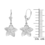 Sterling Silver Five Petal Textured Plumeria Flower Earring Set (Small)