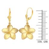 Yellow Gold Five Petal Diamond Cut Plumeria Flower Matte Earring Set  (Medium)