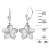 Sterling Silver Five Petal Diamond Cut Plumeria Flower Matte Earring Set  (Medium)