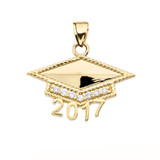Yellow Gold  Class of 2017 Graduation Cap with Cubic Zirconia Pendant Necklace