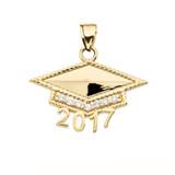Yellow Gold  Class of 2017 Graduation Cap with Diamond Pendant Necklace