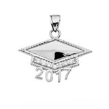 Sterling Silver Class of 2017 Graduation Cap with Cubic Zirconia Pendant Necklace