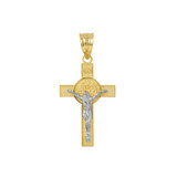 """Two Tone Yellow Gold and White Gold St. Benedict Crucifix Pendant Necklace  (1.10"""")"""