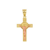 """Two Tone Yellow Gold and Rose Gold St. Benedict Crucifix Pendant Necklace (1.10"""")"""