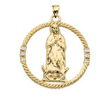 The Blessed Virgin Mary Cubic Zirconia Yellow Gold Round Design Pendant Necklace