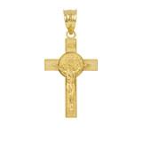 Yellow Gold St. Benedict Crucifix Pendant Necklace
