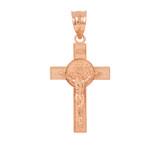 Rose Gold St. Benedict Crucifix Pendant Necklace