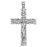 Sterling Silver Jesus Christ Crucified Cross Cubic Zirconia (CZ) Pendant Necklace