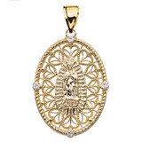 Yellow Gold Our Lady of Guadalupe Pendant Necklace With Cubic Zirconia Side Stones