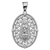 White Gold Our Lady of Guadalupe Pendant Necklace With Diamond Side Stones