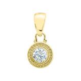Solitaire Diamond Yellow Gold Pendant Necklace