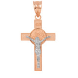 """Two Tone Rose Gold and White Gold St. Benedict Crucifix Pendant Necklace (1.60"""")"""