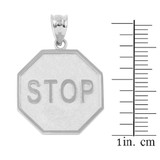 Sterling Silver Stop Sign Charm Pendant Necklace