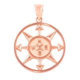 Rose Gold Compass Circle Pendant Necklace