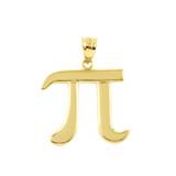 Yellow Gold Pi Symbol Math Pendant Necklace