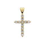 Yellow Gold Elegant Cubic Zirconia (CZ) Cross Pendant Necklace