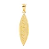 Yellow Gold Surfboard Waves Beach Bum Pendant Necklace