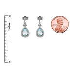 White Gold Aquamarine and Diamond Dangling Earrings