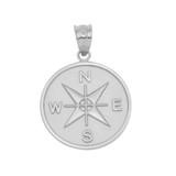 White Gold Compass Medallion Pendant Necklace