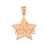Rose Gold Air Force Star Pendant Necklace