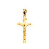 "Yellow Gold Jesus Crucifix Cross Pendant Necklace ( 1.18"")"