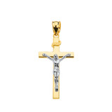 """Two Tone Yellow Gold and White Gold Jesus Crucifix Cross Pendant Necklace ( 1.18"""")"""
