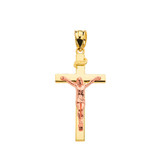 """Two Tone Rose Gold and Yellow Gold Jesus Crucifix Cross Pendant Necklace ( 1.18"""")"""