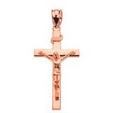 "Rose Gold Jesus Crucifix Cross Pendant Necklace ( 1.60"")"