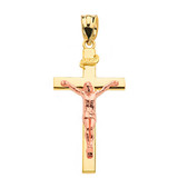 """Two Tone Rose Gold and Yellow Gold Jesus Crucifix Cross Pendant Necklace ( 1.60"""")"""