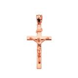 "Rose Gold Jesus Crucifix Cross Pendant Necklace ( 1.18"")"