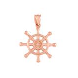 Rose Gold Nautical Ship  Wheel Pendant Necklace