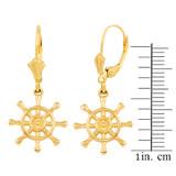 Yellow Gold Nautical Ship Wheel Earring Set